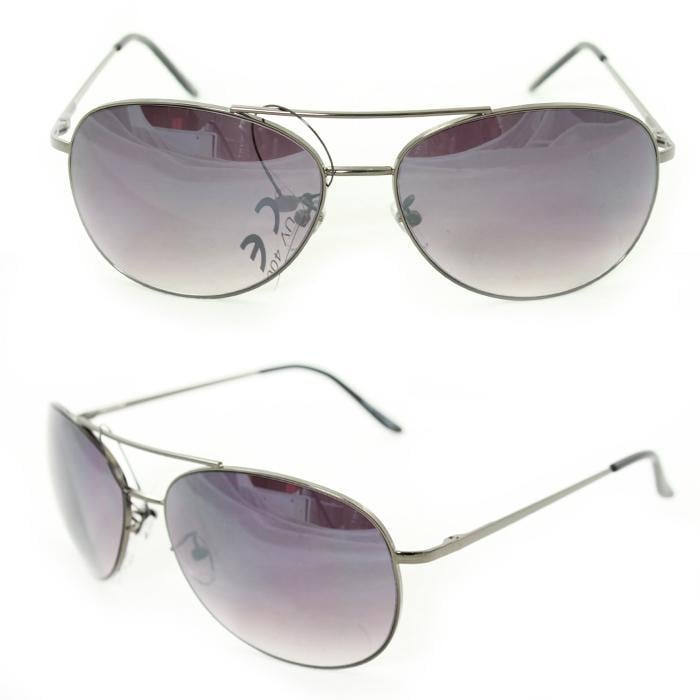 Unisex 25 Grey Metal Aviator Sunglasses