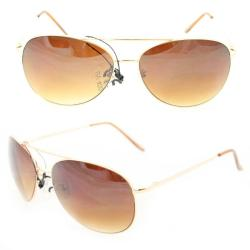 Unisex 25 Gold Metal Aviator Sunglasses