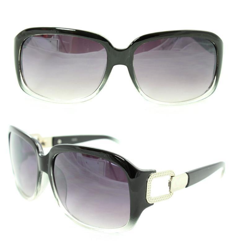 Women's 7075 Black/ Clear Plastic Square Sunglasses