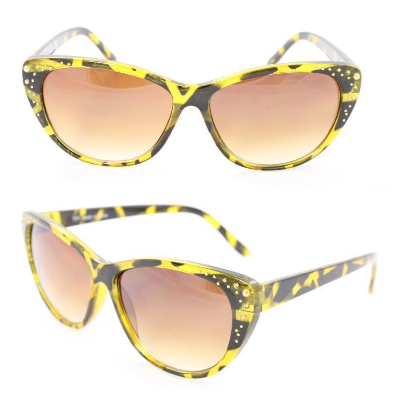 Women's 7071 Yellow Python Plastic Cateye Sunglasses