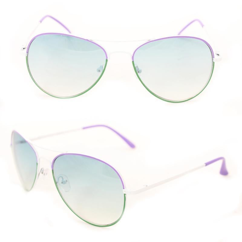 Unisex M09011 Green/ Purple Metal Aviator Sunglasses