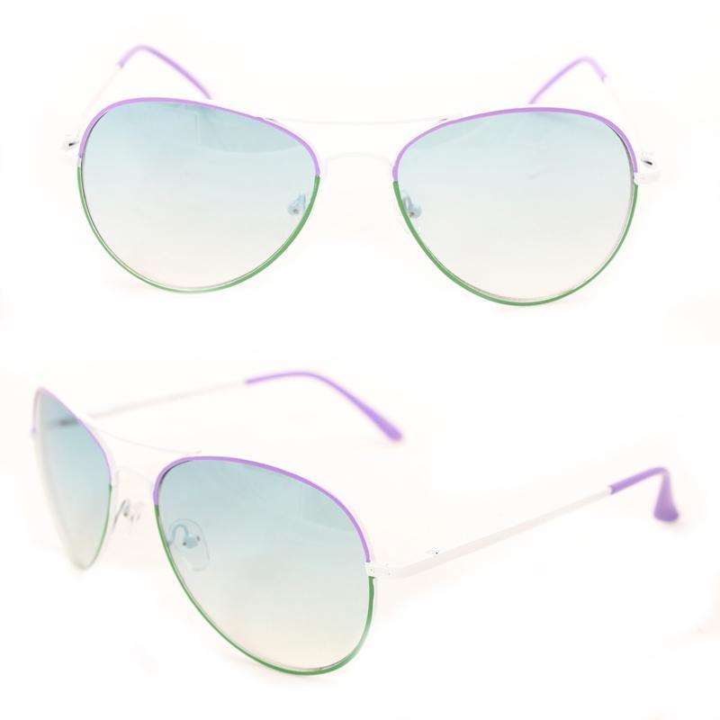 Unisex M09011 Green/ Purple Metal Aviator Sunglasses - Thumbnail 0