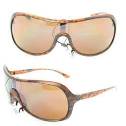 Unisex 592 Leopard Plastic Shield Sunglasses