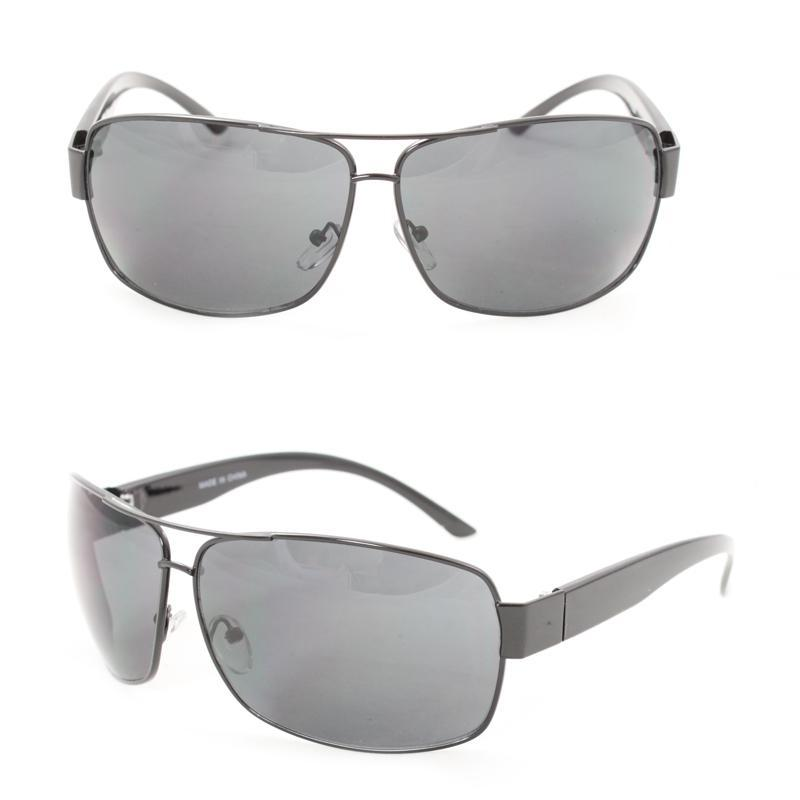 Men's F1869 Black Metal Square Sunglasses