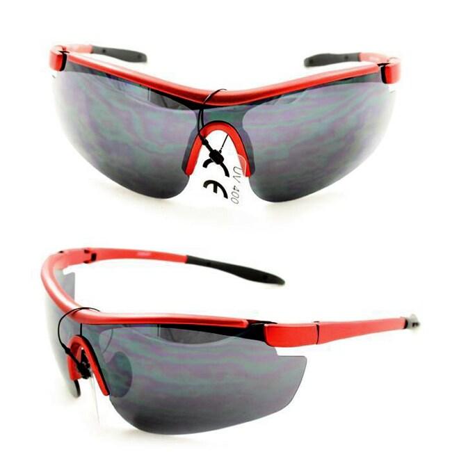 Men's PS80261 Red Plastic Wrap Sunglasses