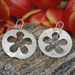 Handmade Sterling Silver Cut-out Flower Earrings (Mexico) - Thumbnail 1