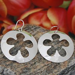 Handmade Sterling Silver Cut-out Flower Earrings (Mexico)