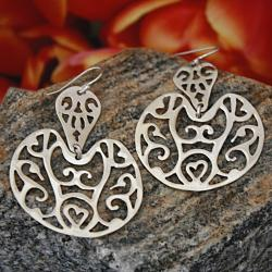 Handmade Sterling Silver Arabesque Drop Earrings (Mexico)