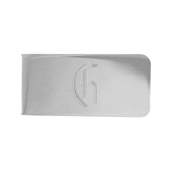 Sterling Silver-plated Engraved Initial Rectangular Money...
