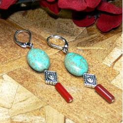 Susen Foster Silverplated 'Rain Dance' Turquoise/ Red Coral Earrings