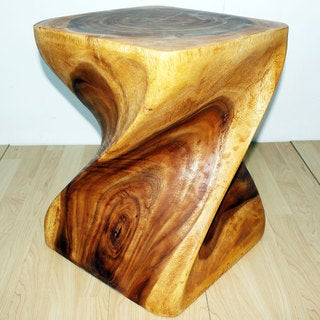 Monkey Pod Wood Twist Oak Oil End Table (Thailand)