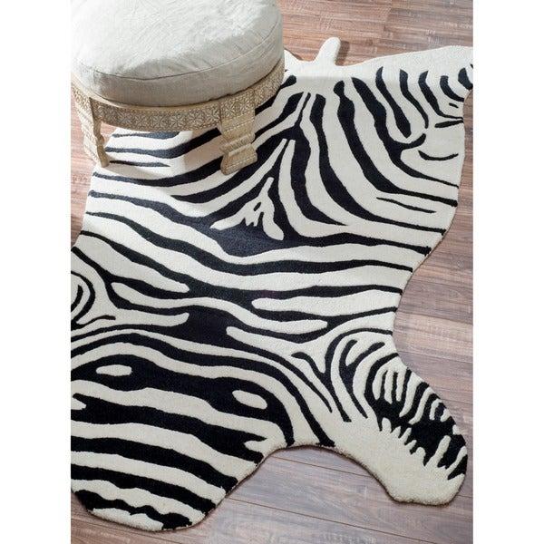 nuLOOM Hand-tufted Animal Shape Zebra Wool Rug (4' x 6')