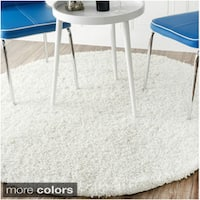 Alexa My Soft and Plush White Shag Rug (8' Round)
