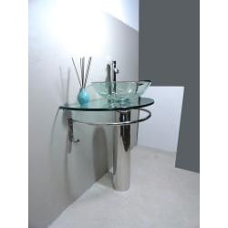 Kokols Clear Vessel Sink Pedestal Bathroom Vanity - Thumbnail 1