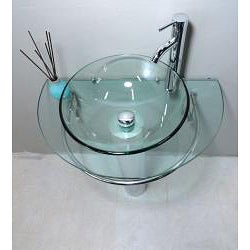 Kokols Clear Vessel Sink Pedestal Bathroom Vanity - Thumbnail 2