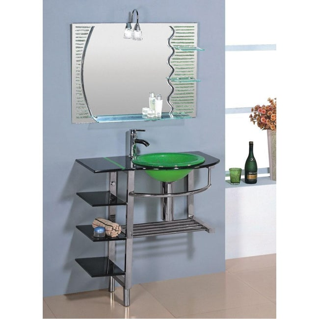 Kokols Clear Vessel Sink Pedestal 3-shelf Bathroom Vanity