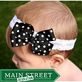 Black and White Polka Dot Detachable Bow Headband
