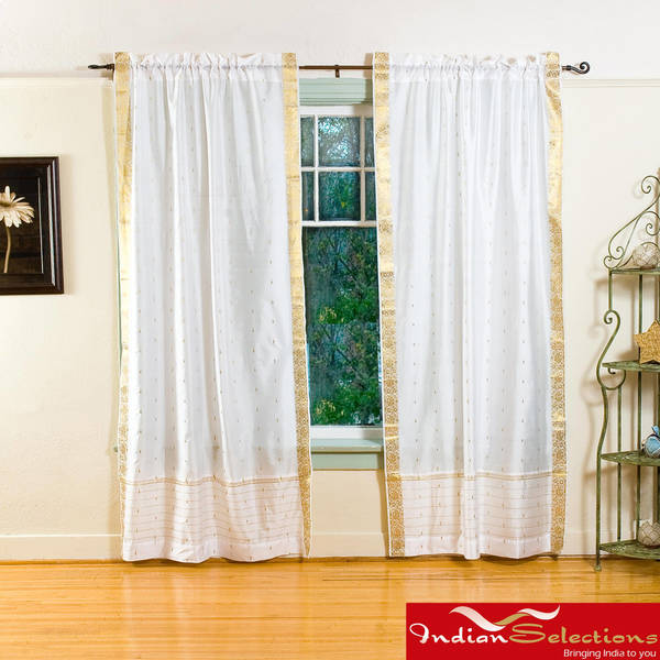Handmade White 84-inch Rod Pocket Sheer Sari Curtain Panel Pair (India)