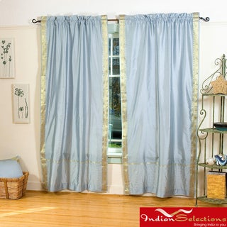 Handmade Grey 84-inch Rod Pocket Sheer Sari Curtain Panel Pair (India)