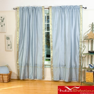 Grey 84-inch Rod Pocket Sheer Sari Curtain Panel Pair (India)