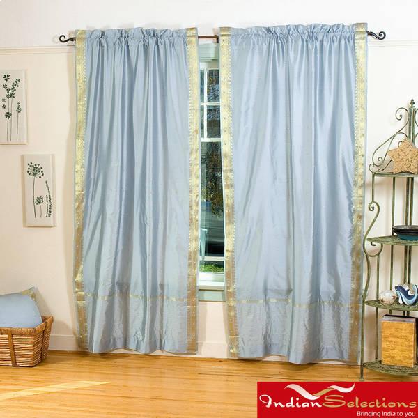 Handmade Grey 84-inch Rod Pocket Sheer Sari Curtain Panel Pair (India)