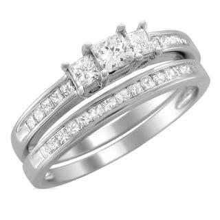 Montebello 14k Gold 1ct TDW Princess-cut Diamond Bridal Ring Set (H-I, I1-I2)