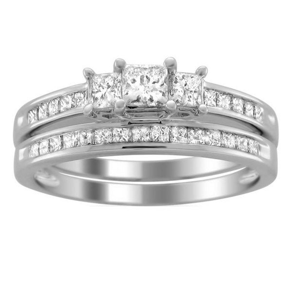 montebello 14k gold 1ct tdw princess cut diamond bridal ring set - Princess Cut Diamond Wedding Ring Sets