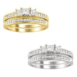 Montebello 14k Gold 1 1/2ct TDW Three Stone Diamond Bridal Ring Set (H-I, I1-I2)