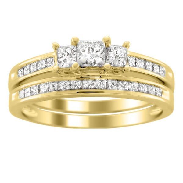 Montebello 14k Gold 1 1/2ct TDW Three Stone Diamond Bridal Ring Set