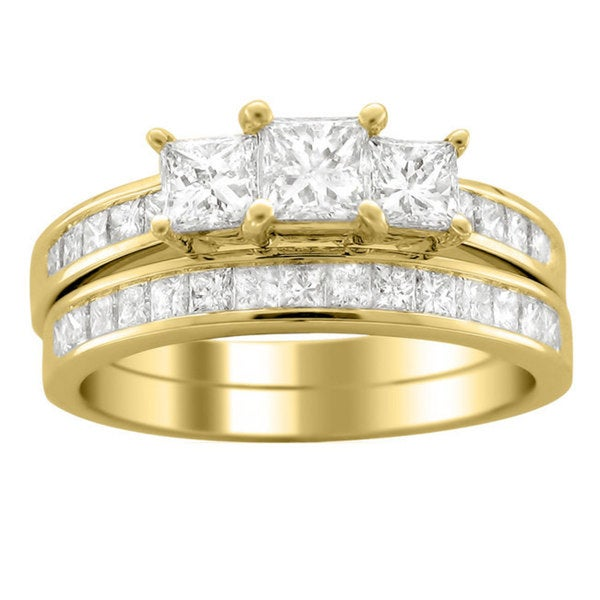 Montebello 14k Gold 2ct TDW Princess Diamond Bridal Ring Set