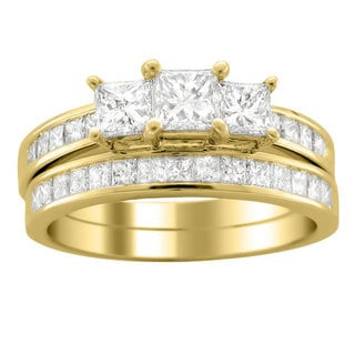 Montebello 14k Gold 2ct TDW Princess Diamond Bridal Ring Set (H-I, I1-I2)