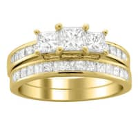 Montebello 14k Gold 2ct TDW Princess Diamond Bridal Ring Set