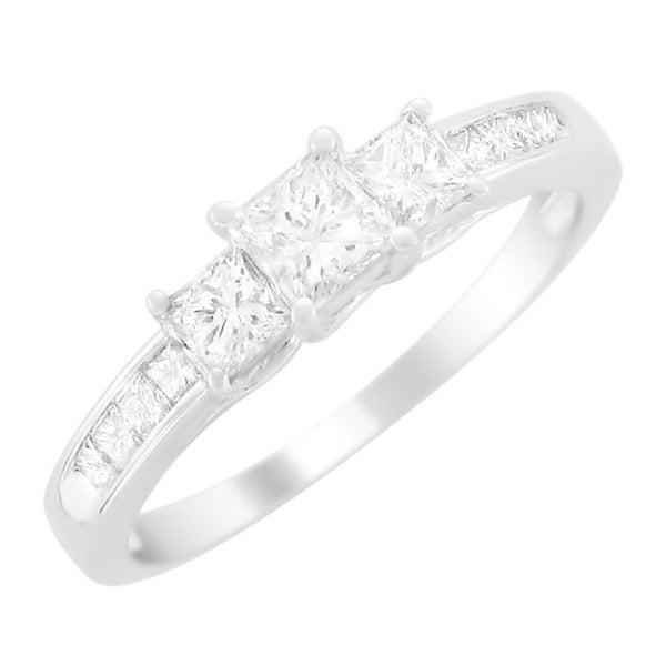 Montebello 14KT Gold 1ct TDW Princess-cut Diamond Engagement Ring