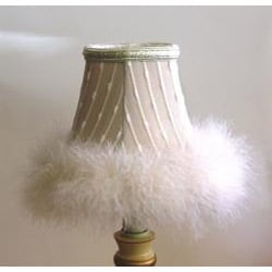 Cream White Faux Fur Chandelier Mini Shades (Set of 2) - Thumbnail 1