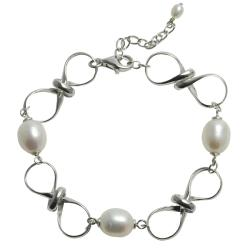 Pearls For You Sterling Silver White Freshwater Pearl Bracelet (8.5-9.5 mm, 4-4.5 mm)