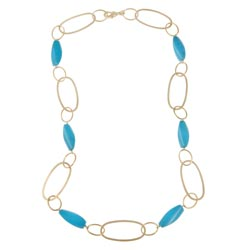 Rivka Friedman 18k Goldplated Magnesite and Oval Link Necklace