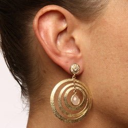 Rivka Friedman 18k Goldplated Pink Quartzite Earrings - Thumbnail 2