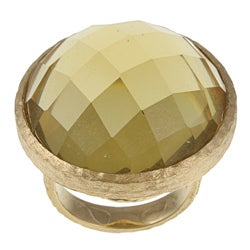 Rivka Friedman Gold Plated Green Crystal Ring