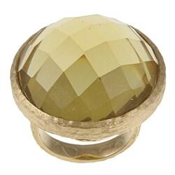 Rivka Friedman Gold Plated Green Crystal Ring
