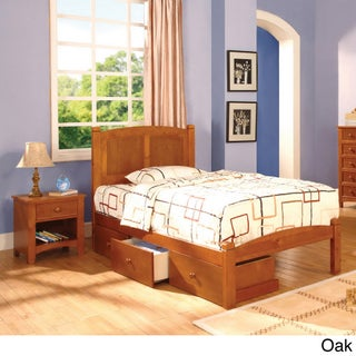 Furniture of America Lancaster Full-size Bed/ Underbed Drawers/ Night Stand Set (Option: Oak)