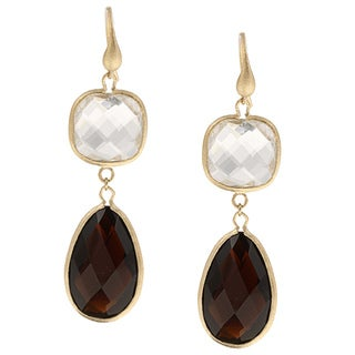 Rivka Friedman Gold Plated Crystal Dangle Earrings