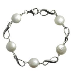 Pearls For You Sterling Silver Freshwater Coin Pearl Bracelet (10.5-11 mm)