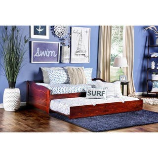 Furniture of America Bowiea Transitional Wooden Daybed with Twin Trundle|https://ak1.ostkcdn.com/images/products/5953420/P13650652.jpg?impolicy=medium