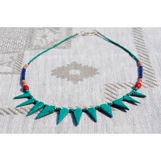 Handmade Silver Tribal Multi-gemstone Necklace (Afghanistan)