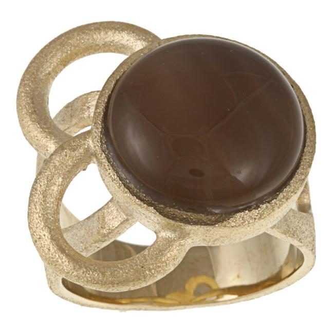 Rivka Friedman 18k Goldplated Brown Chalcedony Asymmetrical Loop Ring