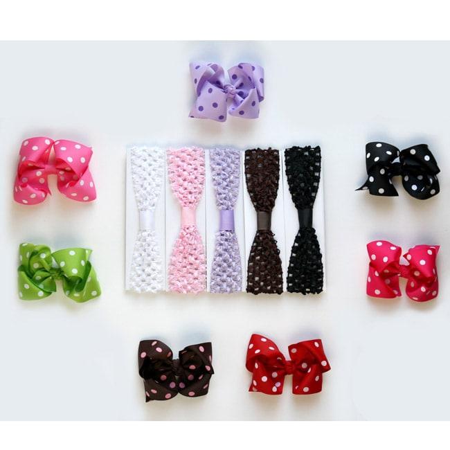 Big Polka Dot Bow and Soft Stretch Crochet Headband