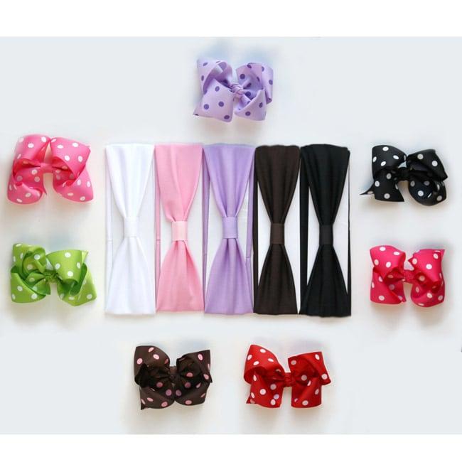 Big Polka Dot Bow and Soft Stretch Polyester Headband