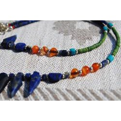 Silver Tribal Lapis Lazuli/ Malachite/ Quartz Necklace (Afghanistan)