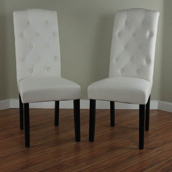 Princeton upholstered linen dining chairs set of 2 for Upholstered linen dining chairs