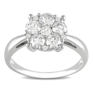Miadora 10k White Gold 1ct TDW Diamond Cluster Ring